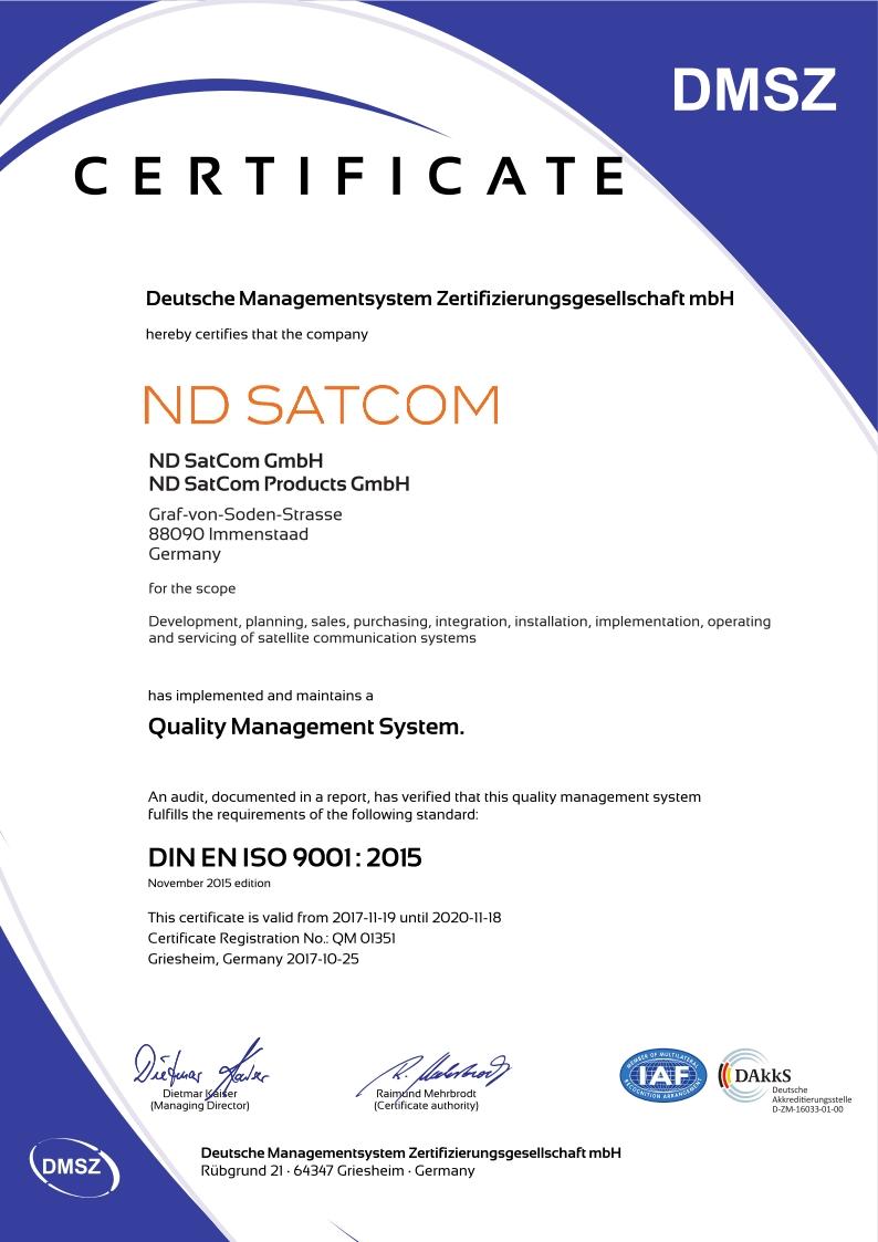 Nd Satcom Iso Certification